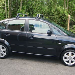 Black A2 with Audi roof bars